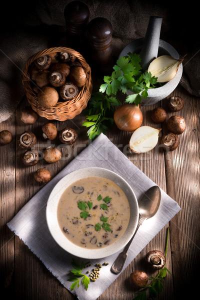 Kremowy grzyby zupa żywności tle zielone Zdjęcia stock © Dar1930