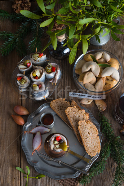 Rollmops - pickled herring fillets Stock photo © Dar1930