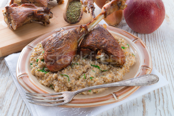 roasted goose thighs with grits Stock photo © Dar1930