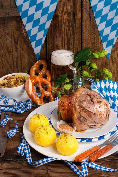 Schweinshaxe - pork knuckle on Bavarian Stock photo © Dar1930