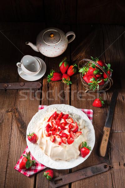 Pavlova with strawberries Stock photo © Dar1930