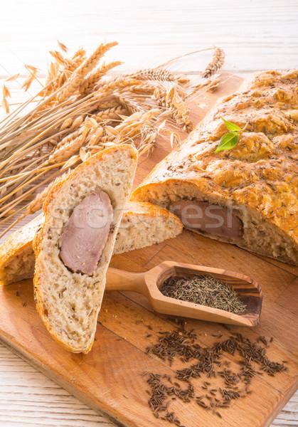 Carne de porco filé pão marrom fundo cozinha Foto stock © Dar1930