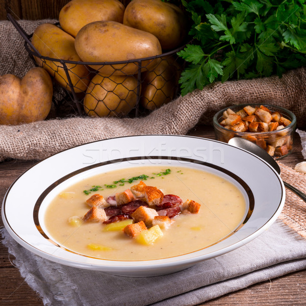 Aardappelsoep gezondheid retro vintage lunch soep Stockfoto © Dar1930