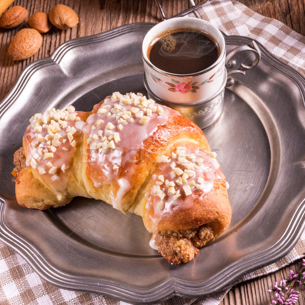 Croissants tabel witte lunch vers zaad Stockfoto © Dar1930