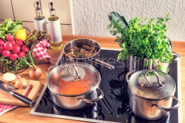 Pişirme soba gıda dizayn ev mutfak Stok fotoğraf © Dar1930