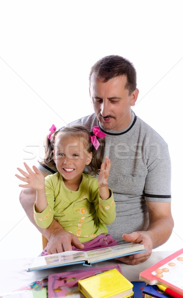 father with daughter in read Stock photo © Dar1930