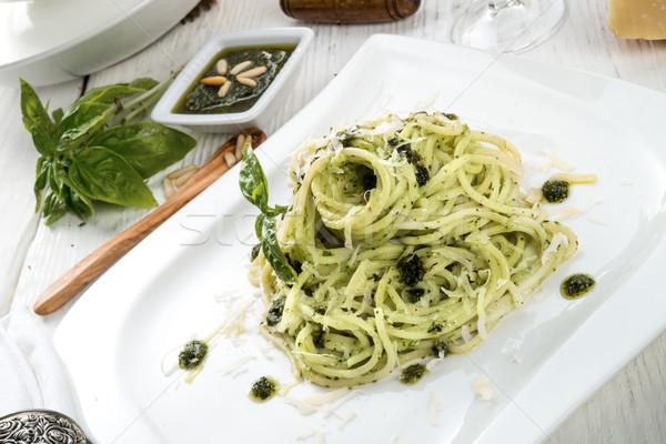 Pasta pesto foglia cena oliva cottura Foto d'archivio © Dar1930