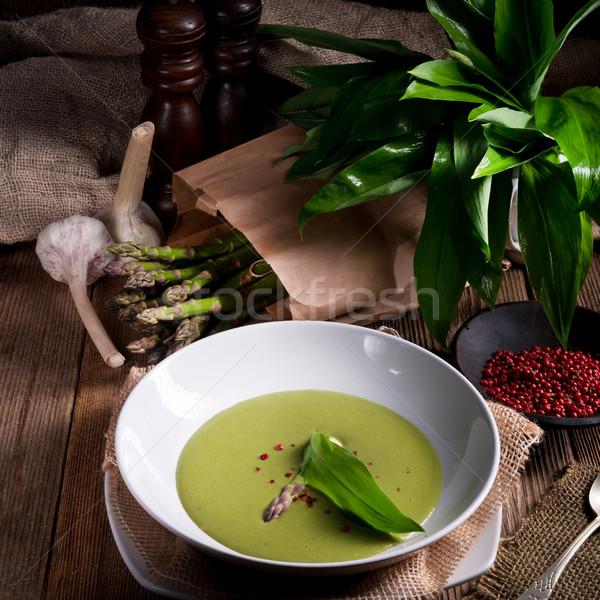 ストックフォト: アスパラガス · スープ · 春 · 森林 · 背景 · 工場