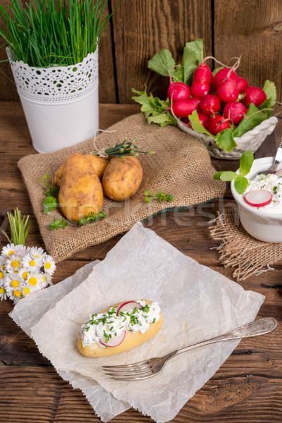 Stockfoto: Nieuwe · voorjaar · achtergrond · keuken · kaas