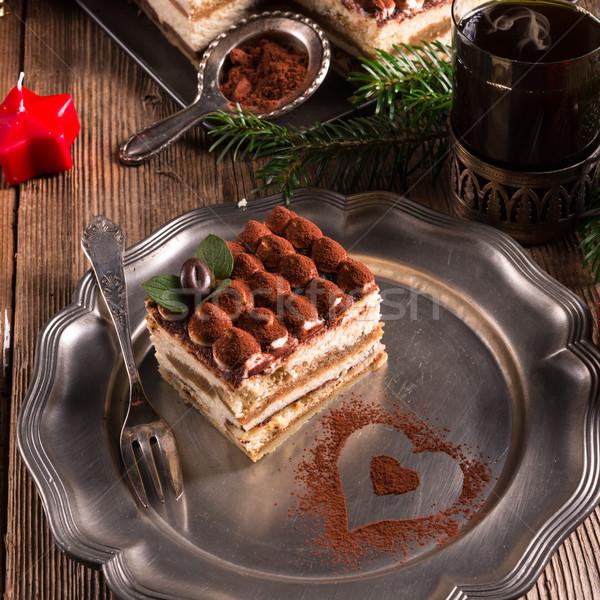 Christmas tiramisu voedsel partij chocolade achtergrond Stockfoto © Dar1930