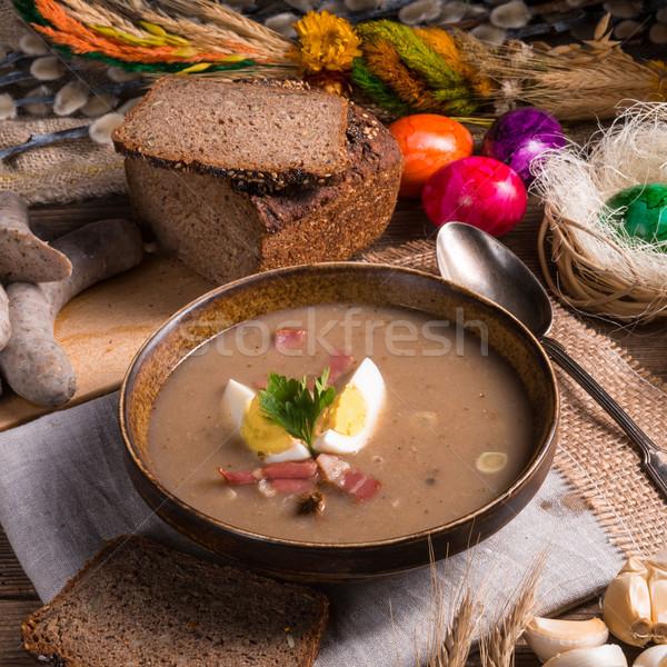 Kwaśny żyto zupa Wielkanoc kuchnia tabeli Zdjęcia stock © Dar1930
