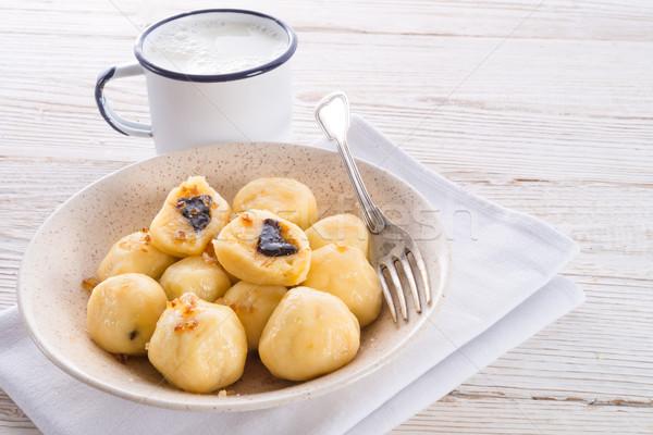 Potato dumplings with plums full Stock photo © Dar1930