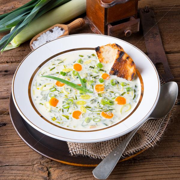 Póréhagyma sajt leves étel vacsora forró Stock fotó © Dar1930