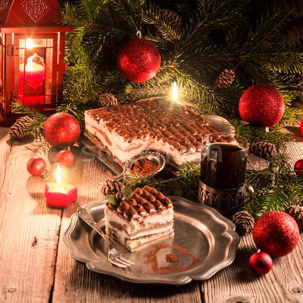 Natal tiramisu comida festa chocolate fundo Foto stock © Dar1930