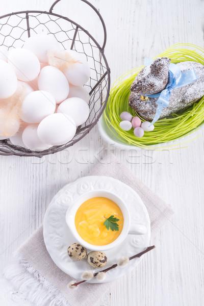 ソース 卵 黒 料理 野菜 黄色 ストックフォト © Dar1930