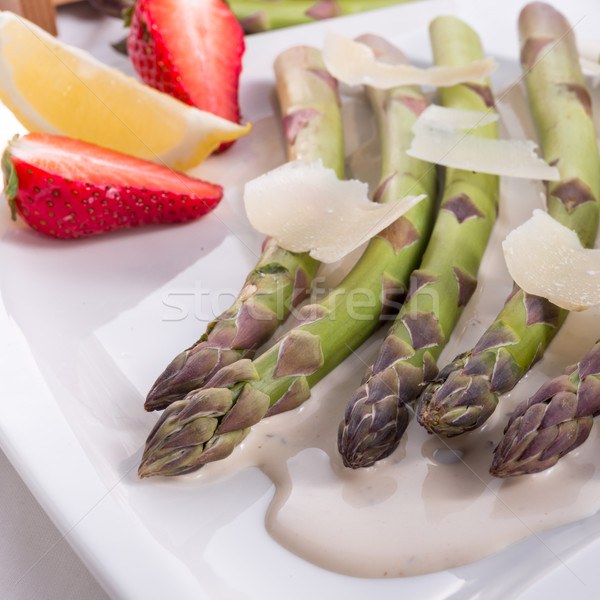 Stock photo: Blanchiertes asparagus with truffle sauce