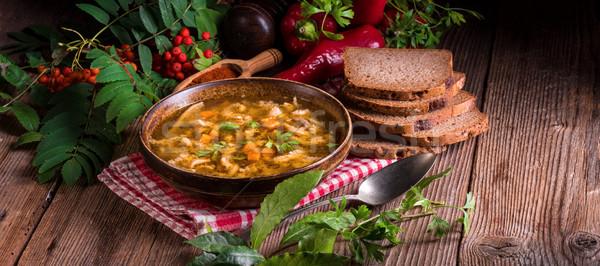 Carne sopa comida restaurante tabela pão Foto stock © Dar1930