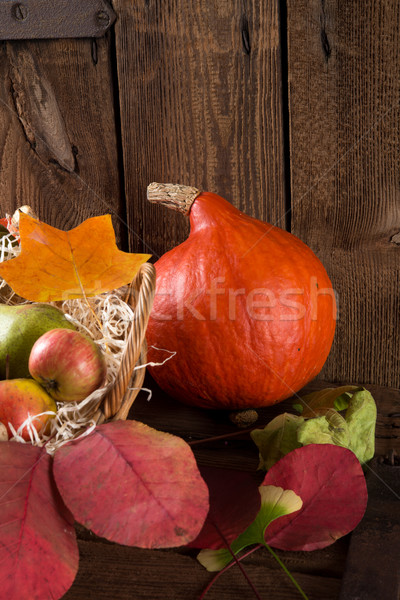Foto stock: Abóbora · cesta · projeto · folhas · milho · outono