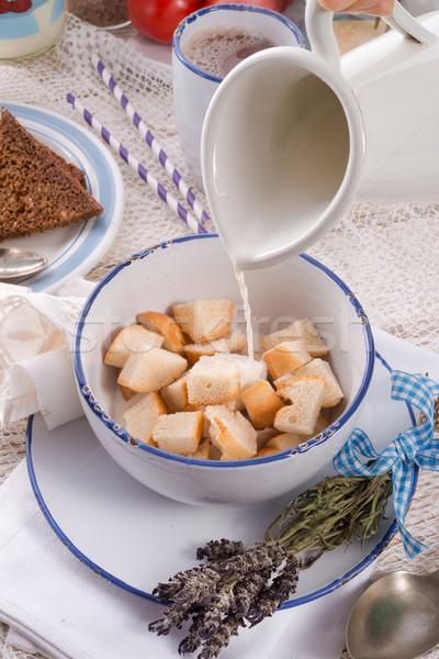 по традиции хлеб частей молоко кофе Сток-фото © Dar1930