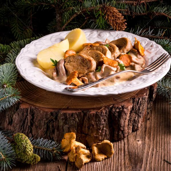 Stock fotó: Krumpli · disznóhús · mártás · étel · asztal · főzés