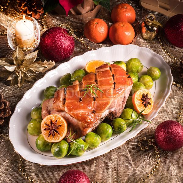 Karácsony vacsora Brüsszel narancs mártás étel Stock fotó © Dar1930