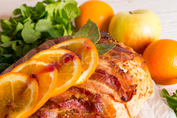 baked turkey with chestnut filling and orange Stock photo © Dar1930