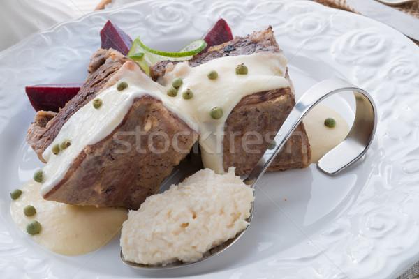 Boeuf betterave raifort sauce restaurant viande Photo stock © Dar1930