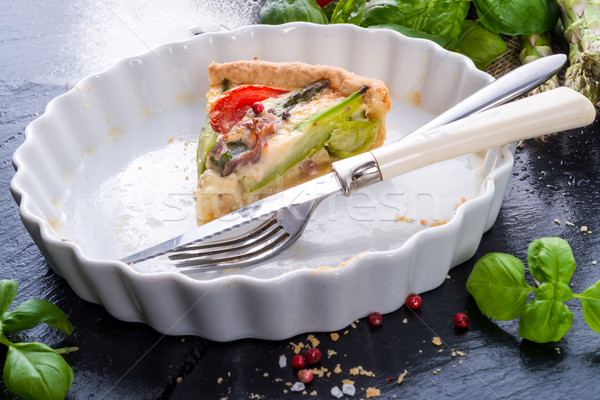 green asparagi Tart with eggs and tomato Stock photo © Dar1930