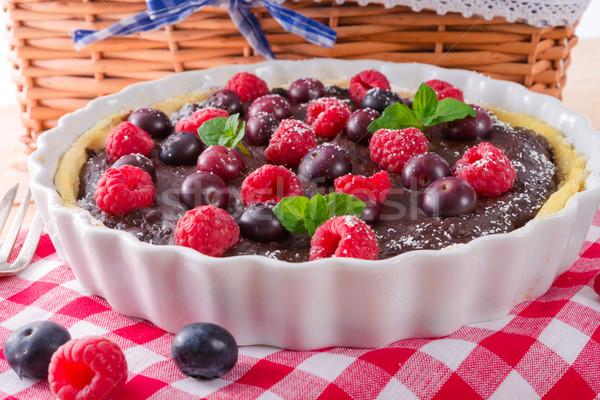 Stok fotoğraf: çikolata · orman · meyve · cam · sağlık · kek