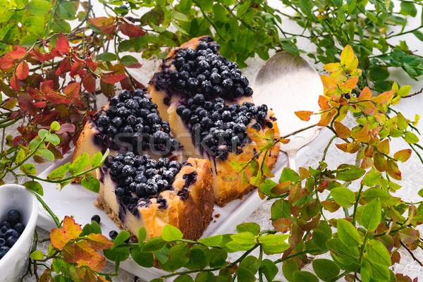 Bolo de queijo mirtilos comida fruto fundo restaurante Foto stock © Dar1930