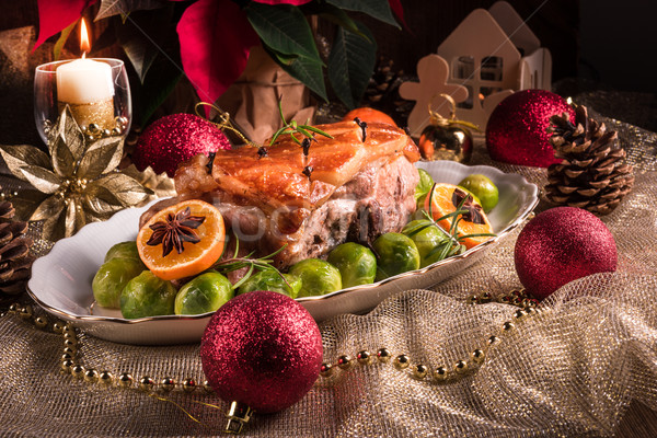 Christmas dinner with brussels sprouts in orange sauce Stock photo © Dar1930