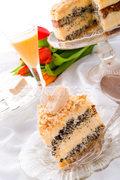 Stock photo: cheese almond cake
