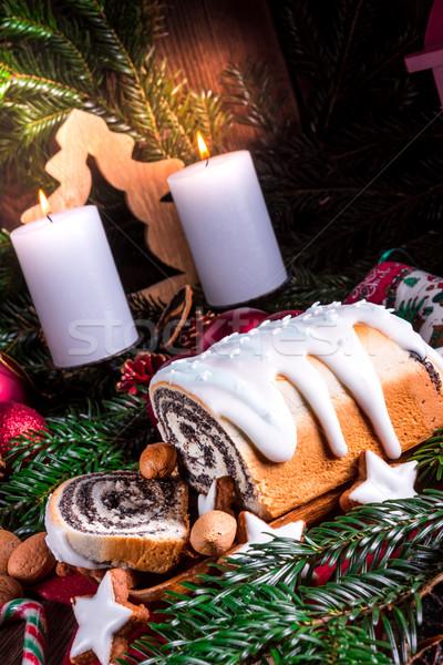 Foto d'archivio: Natale · papavero · sementi · torta · alimentare · verde