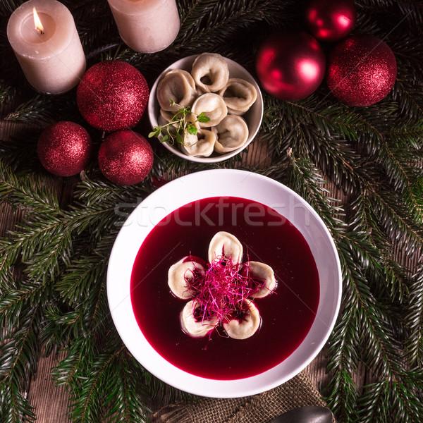Kırmızı çorba mutfak akşam yemeği sıcak Noel Stok fotoğraf © Dar1930