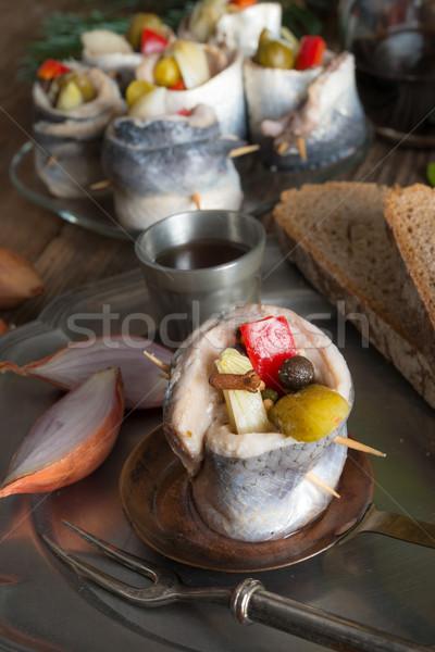 Rollmops - pickled herring fillets Stock photo © Dar1930