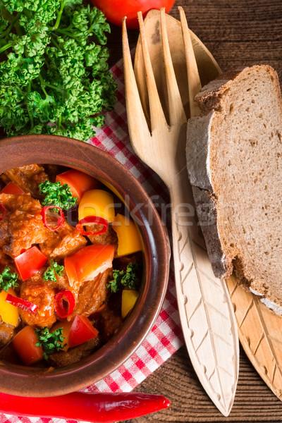 Ahşap cam akşam yemeği kırmızı et Stok fotoğraf © Dar1930