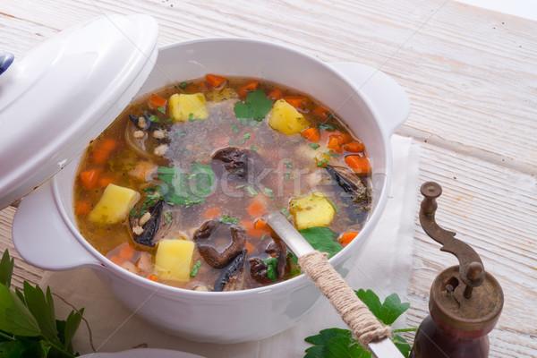 Perle orge soupe vert viande chaud Photo stock © Dar1930