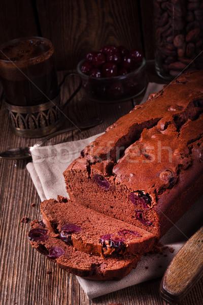 вишни рождения фон торт таблице Сток-фото © Dar1930