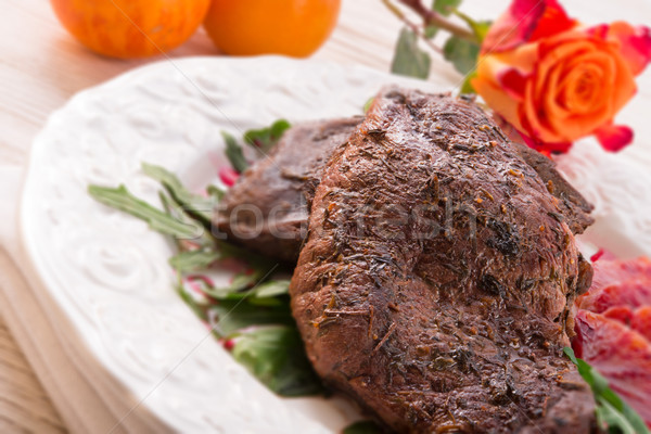 crunchy duck's breast with orange and rucola - selective focus Stock photo © Dar1930