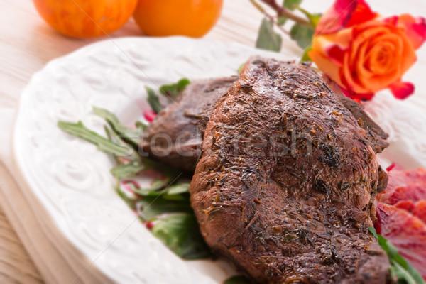 Knapperig borst oranje selectieve aandacht voedsel restaurant Stockfoto © Dar1930