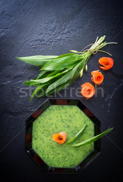 Bear allium soup with smoking salmon Stock photo © Dar1930