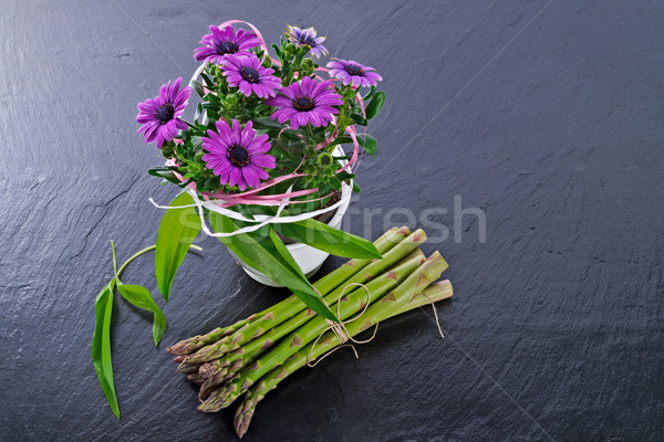 Stock fotó: Spárga · százszorszépek · étel · kék · növény · zöldségek