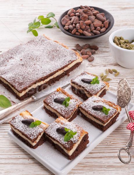Foto stock: Chocolate · bolo · de · queijo · comida · casa · bolo · queijo