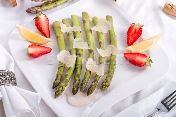Blanchiertes asparagus with truffle sauce  Stock photo © Dar1930