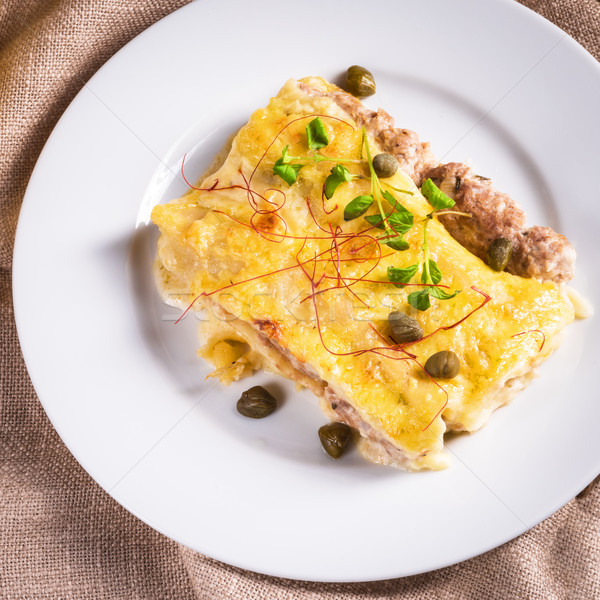 Cannelloni with mince filling and capers Stock photo © Dar1930