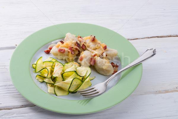 Silesian dumplings with Bacon and zucchini Stock photo © Dar1930