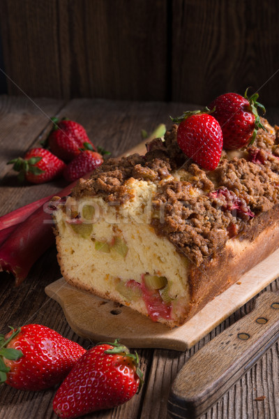 Rabarber cake voedsel hout zomer Rood Stockfoto © Dar1930
