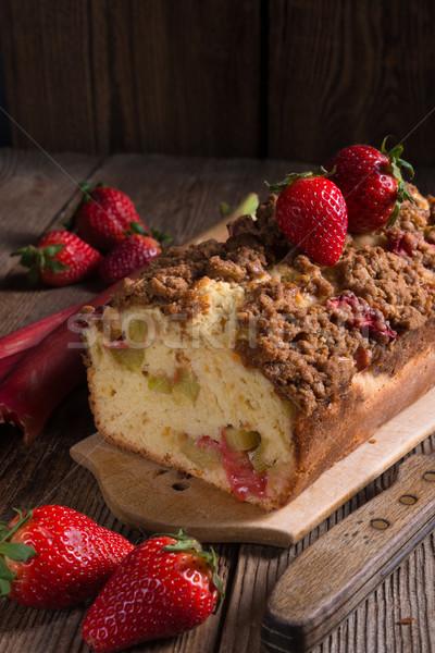 ルバーブ ケーキ 食品 木材 夏 赤 ストックフォト © Dar1930