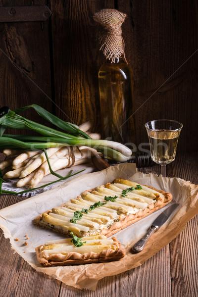 アスパラガス フェタチーズ 花 木材 ディナー ストックフォト © Dar1930