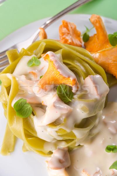 Tagliatelle voedsel blad achtergrond groene kaas Stockfoto © Dar1930